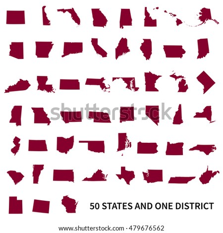 Set of US states maps. United States of America 50 states and 1 federal district.