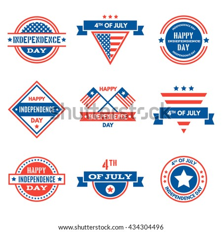 Set of USA Independence Day emblems, signs and badges. Happy Independence Day, Fourth of July, July 4th Vector templates and design elements. - stock vector