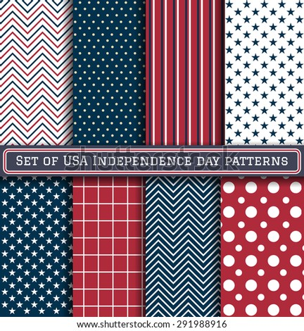 Set of USA Independence day patterns  - stock vector
