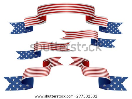 Set of USA insignia in different shape of ribbons - stock vector