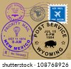 Set of USA post stamp symbols, vector illustration - stock photo