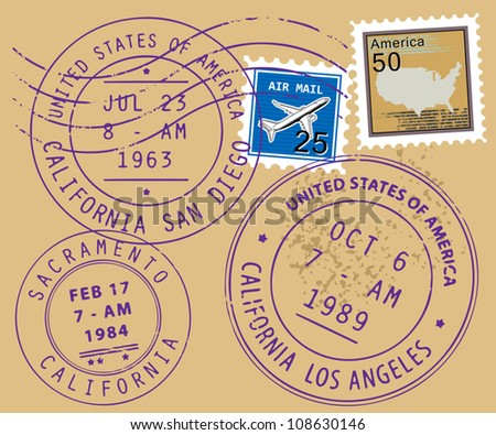 Set of USA post stamp symbols, vector illustration - stock vector