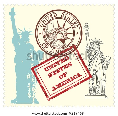 set of USA stamps and statue of Liberty illustration - stock vector
