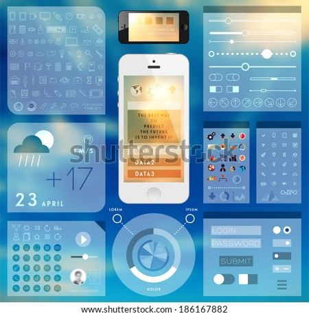 Set of User Interface Elements. Technology Flat Design Style. Mobile Phone Template. Infographic Elements. Thin Line Icons Collection. Blurred Background. - stock vector