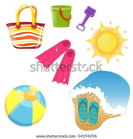 Set of vacation icons - stock vector