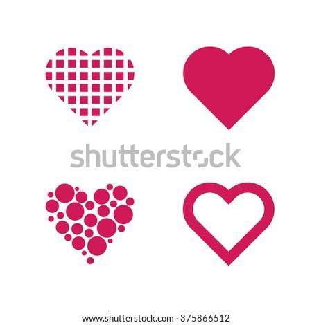 Set Of 4 Valentine Hearths