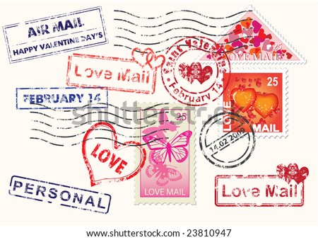 Set of Valentine mail's elements (postage, postmark), vector illustration - stock vector