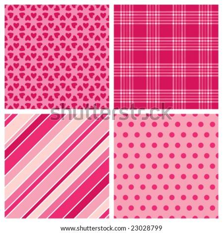 Set of Valentine Patterns - stock vector