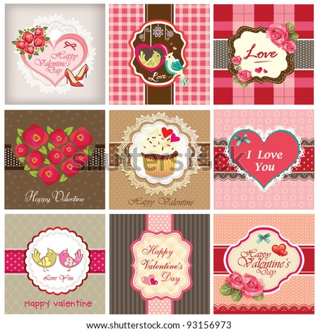 Set of valentine's day backgrounds - stock vector