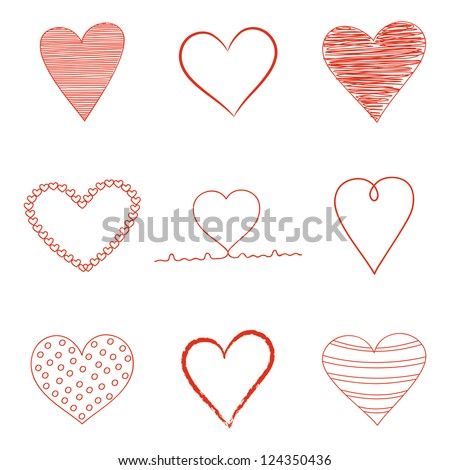 Set of Valentine's Day  heart icons. Vector illustration. - stock vector