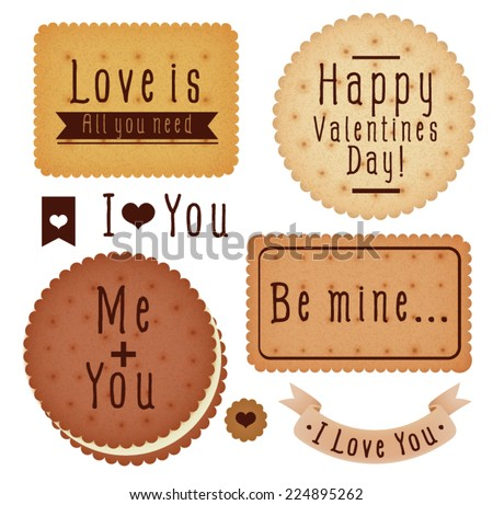 Set of Valentine's day  label - Vector file EPS10 - stock vector