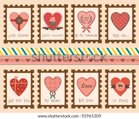 Set of Valentine's Day Love Stamps - stock vector