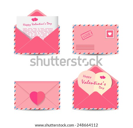 Set of Valentine's Day pink envelopes with pink paper hearts isolated on white background. Vector illustration. - stock vector