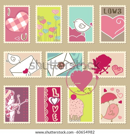 set of valentine`s day postage stamps - stock vector
