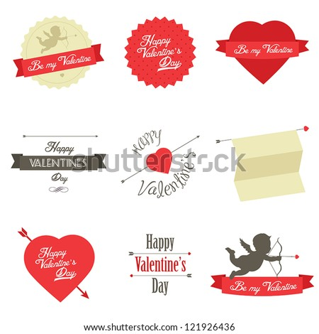 Set of Valentine's Day red labels and badges - stock vector