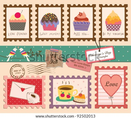 Set of Valentine's Day Stamps - stock vector