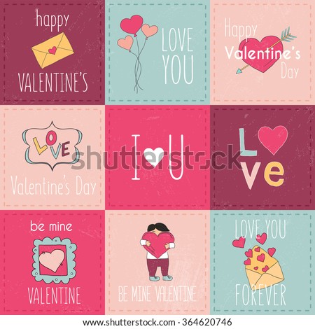 Set of Valentine's Day typographic tags and labels. Cards with ornaments, hearts, ribbon and arrow. Decorative elements for card, poster, web banners, social media and party invitation.