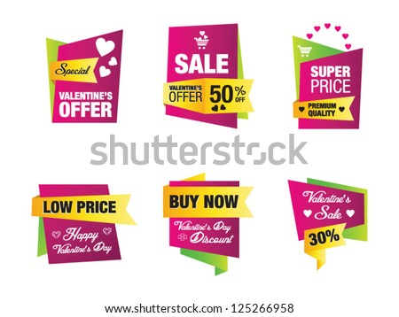 Set Valentines Sale Banners Frames Labels Stock Vector (2018 ...