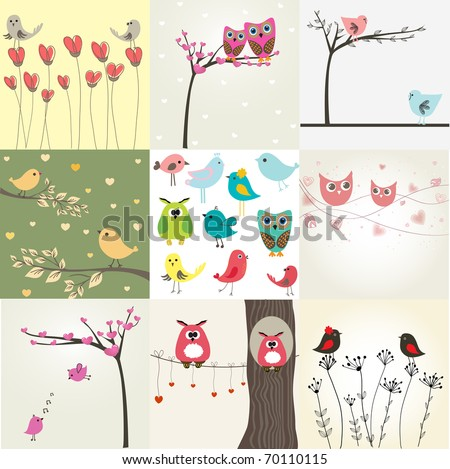 Set of 9 valentines cards with cute birds - stock vector