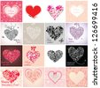 Set of Valentines Day cards - stock vector