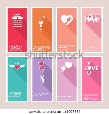 Set of Valentines day greeting cards - stock vector