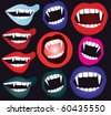set of vampire mouth in vector - stock vector