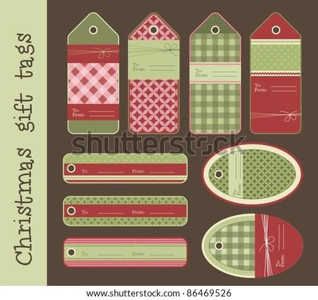Set of variable Christmas gift tags, vector - stock vector
