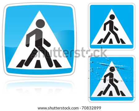 Set of variants a Crosswalk road sign isolated on white background. Group of as fish-eye, simple and grunge icons for your design. Vector illustration. - stock vector