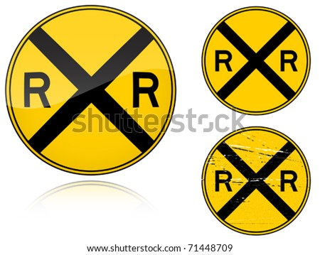 Set of variants a Level crossing warning - road sign isolated on white background. Group of as fish-eye, simple and grunge icons for your design. Vector illustration. - stock vector