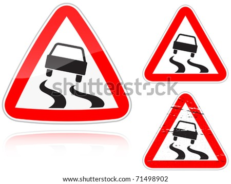 Set of variants a Slippery road - road sign isolated on white background. Group of as fish-eye, simple and grunge icons for your design. Vector illustration. - stock vector