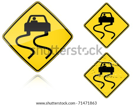 Set of variants a Slippery when wet - road sign isolated on white background. Group of as fish-eye, simple and grunge icons for your design. Vector illustration. - stock vector