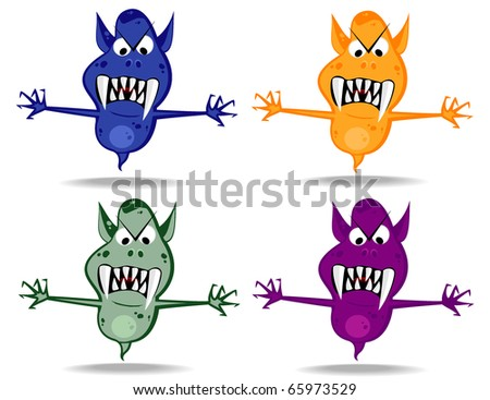 set of varicolored funny monsters.vector 12 - stock vector