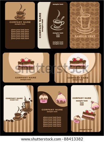 Set of variety business coffee cards
