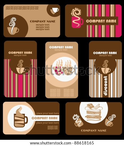 Set of variety business coffee cards - stock vector
