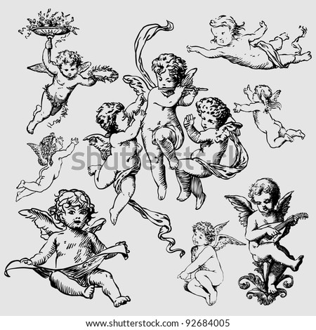 set of various angels or cupids. isolated - stock vector