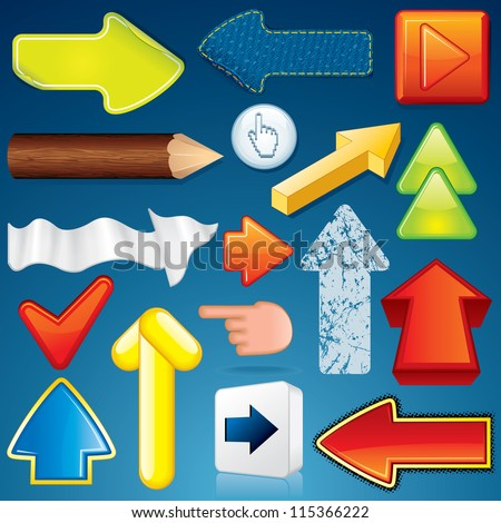 Set of Various Arrow Icons. Abstract Vector Design Elements - stock vector