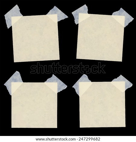 Set of various beige note papers - stock vector