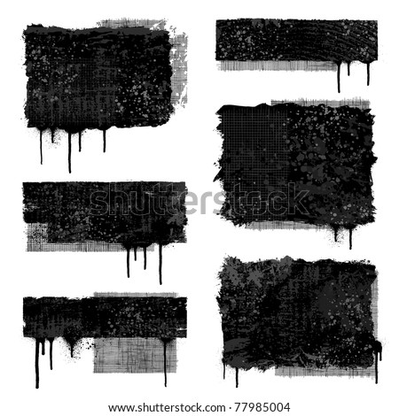 Set of various black and gray grunge banner designs - stock vector