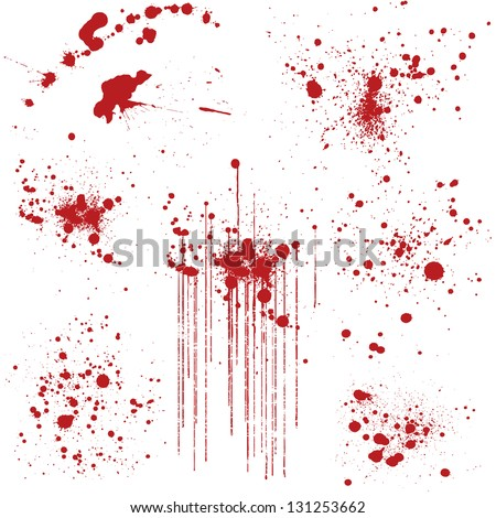 Set of various blood or paint splatters. - stock vector