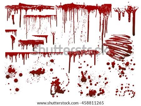 set various blood paint splatters stock vector 458811265