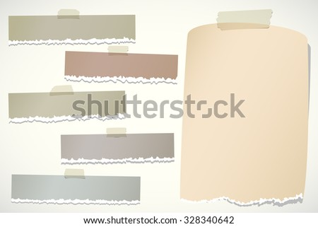 Set of various brown torn note papers with adhesive tape on background - stock vector