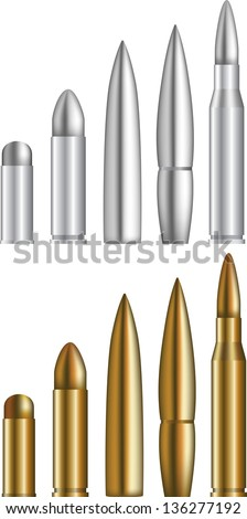Set of various bullets - stock vector