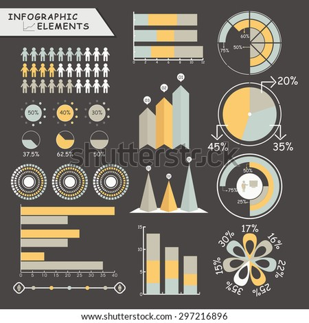 Set of various business infographic elements including statistical graphs, pie charts and arrows for professional reports presentation.  - stock vector