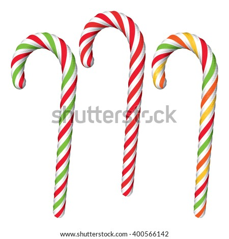 Set of Various Candy Canes Isolated on White. Traditional Christmas Green and Red Candy Canes. Vector Illustration.