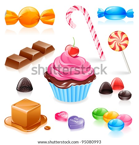Set of various candy elements including caramel, chocolate, lollipops and fruit gum - stock vector