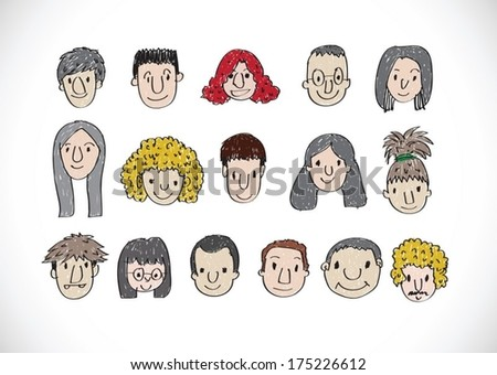 Set of various cartoon faces illustration