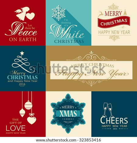 Set of various Christmas and Happy New Year banners with festive designs of Christmas balls, Christmas tree, snowflake, angel and heart designs. - stock vector