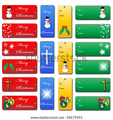Set of Various Christmas Gift Tags - stock vector