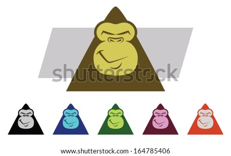 Set of various colored Gorilla Mascot Characters/Vector Gorilla Faces - stock vector