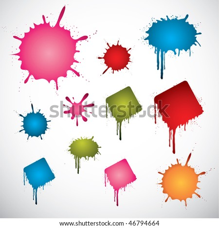 Set of various colored vector ink spots - stock vector